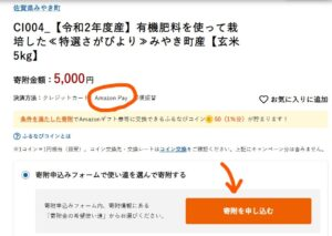 ふるなび AmazonPay 寄付